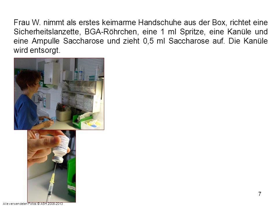 7 Frau W. nimmt als erstes keimarme Handschuhe aus der Box, richtet eine Sicherheitslanzette, BGA-Röhrchen, eine 1 ml Spritze, eine Kanüle und eine Am