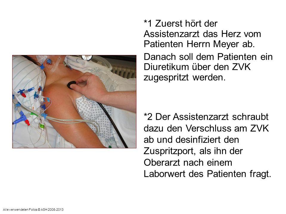 *4 Anschließend verabreicht der Assistenzarzt das von der Schwester vorbereitete Medikament.