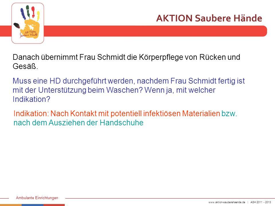 www.aktion-sauberehaende.de | ASH 2011 - 2013 Ambulante Einrichtungen Danach übernimmt Frau Schmidt die Körperpflege von Rücken und Gesäß. Indikation: