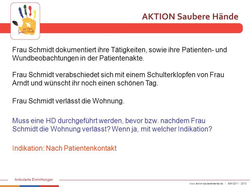 www.aktion-sauberehaende.de | ASH 2011 - 2013 Ambulante Einrichtungen Frau Schmidt dokumentiert ihre Tätigkeiten, sowie ihre Patienten- und Wundbeobac