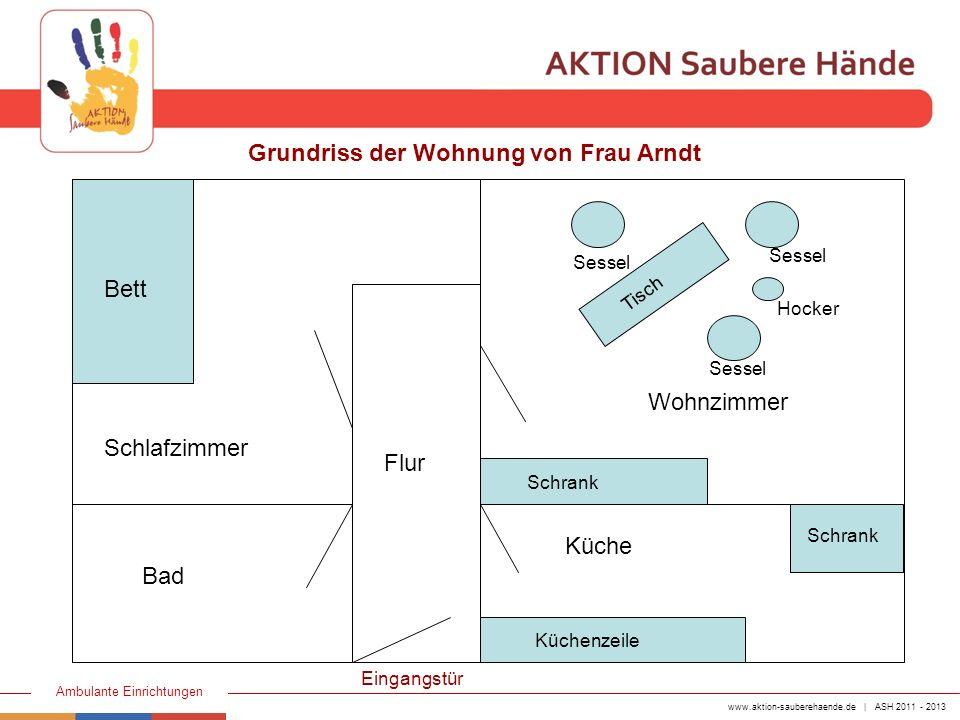 www.aktion-sauberehaende.de | ASH 2011 - 2013 Ambulante Einrichtungen Frau Schmidt signalisiert ihr Eintreffen über die Klingelanlage, schließt die Wohnungstür auf und geht in das Schlafzimmer von Frau Arndt.