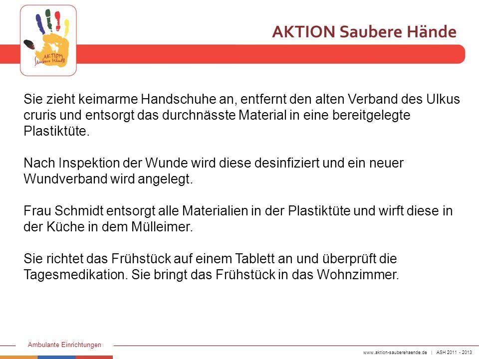 www.aktion-sauberehaende.de | ASH 2011 - 2013 Ambulante Einrichtungen Aus ihrer Arbeitstasche entnimmt sie das RR-Gerät und misst bei Frau Arndt den Blutdruck.