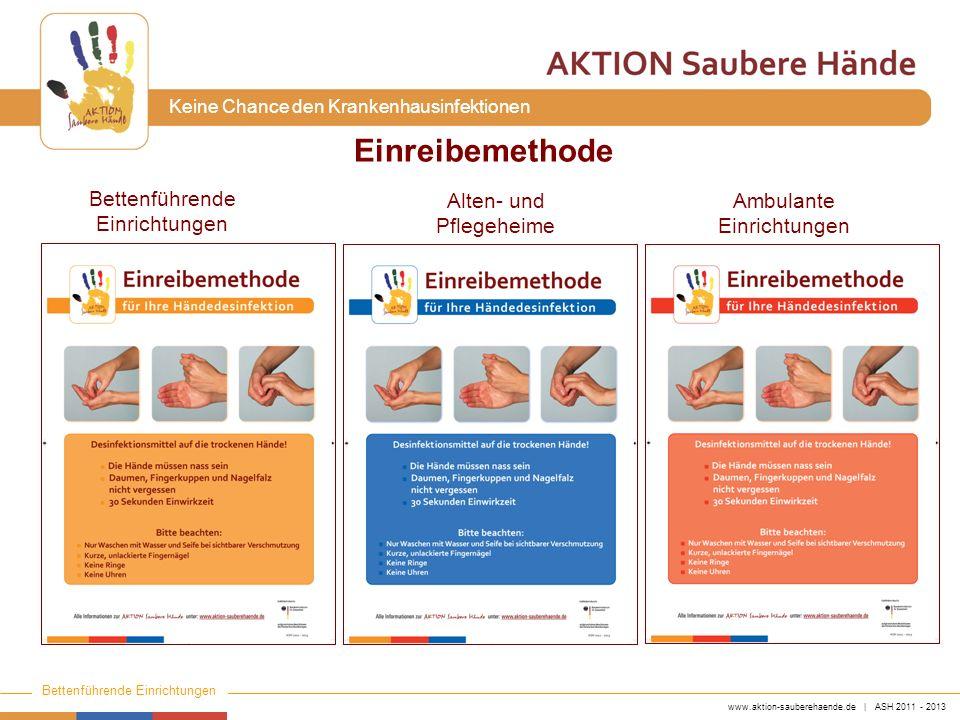 www.aktion-sauberehaende.de | ASH 2011 - 2013 Bettenführende Einrichtungen Keine Chance den Krankenhausinfektionen Einreibemethode Bettenführende Einr