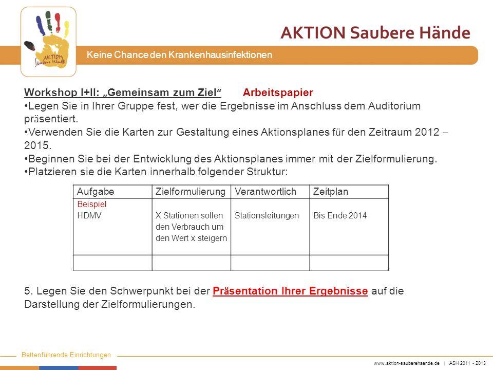 www.aktion-sauberehaende.de | ASH 2011 - 2013 Bettenführende Einrichtungen Keine Chance den Krankenhausinfektionen Workshop I+II: Gemeinsam zum Ziel A