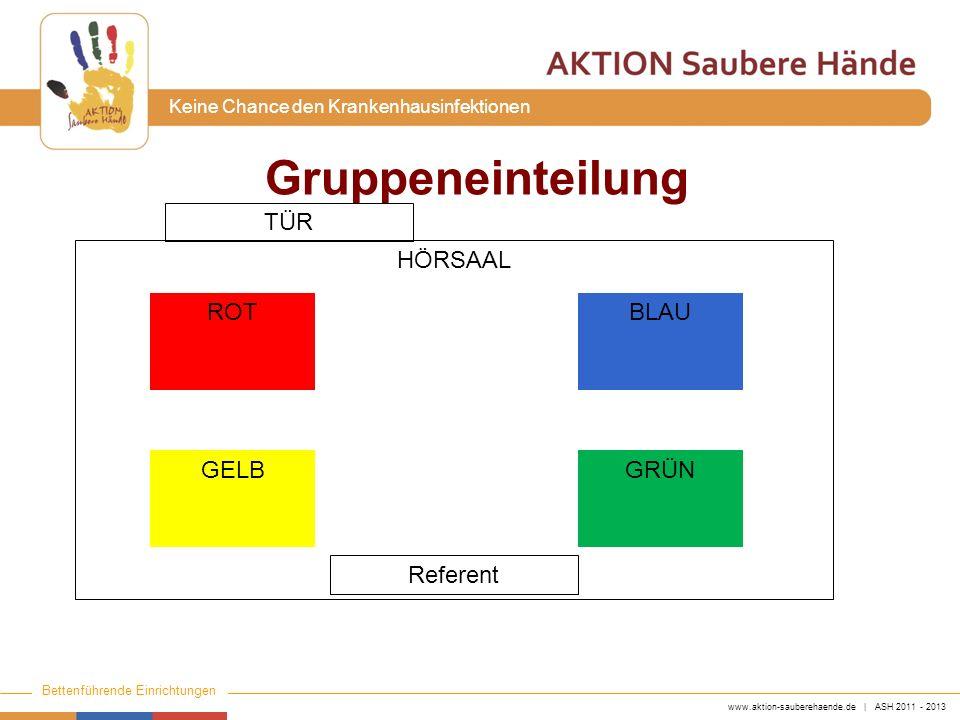 www.aktion-sauberehaende.de | ASH 2011 - 2013 Bettenführende Einrichtungen Keine Chance den Krankenhausinfektionen Gruppeneinteilung HÖRSAAL ROT GELB