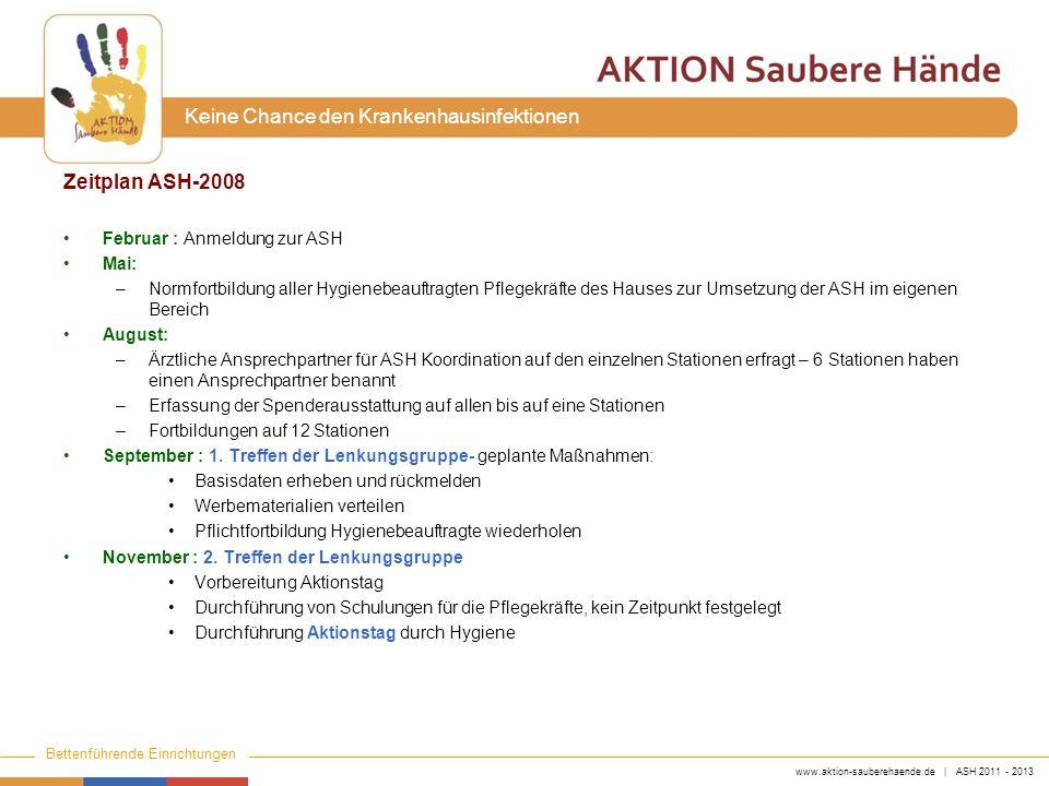 www.aktion-sauberehaende.de | ASH 2011 - 2013 Bettenführende Einrichtungen Keine Chance den Krankenhausinfektionen Zeitplan ASH-2008 Februar : Anmeldu