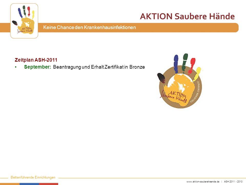 www.aktion-sauberehaende.de | ASH 2011 - 2013 Bettenführende Einrichtungen Keine Chance den Krankenhausinfektionen Zeitplan ASH-2011 September: Beantr
