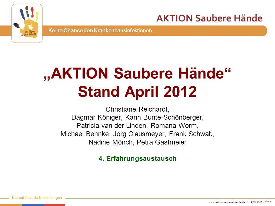 www.aktion-sauberehaende.de | ASH 2011 - 2013 Bettenführende Einrichtungen Keine Chance den Krankenhausinfektionen Organisatorisches 2 Fragebögen bitte bis Ende des Erfahrungsaustausches abgeben.