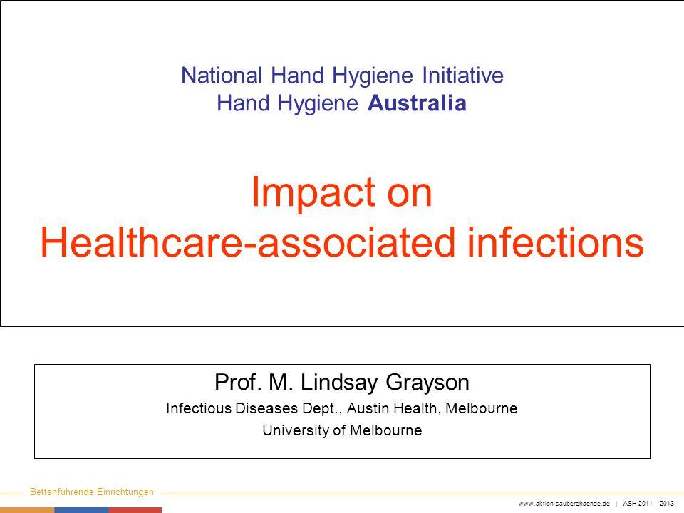 www.aktion-sauberehaende.de | ASH 2011 - 2013 Bettenführende Einrichtungen Keine Chance den Krankenhausinfektionen National Hand Hygiene Initiative Ha