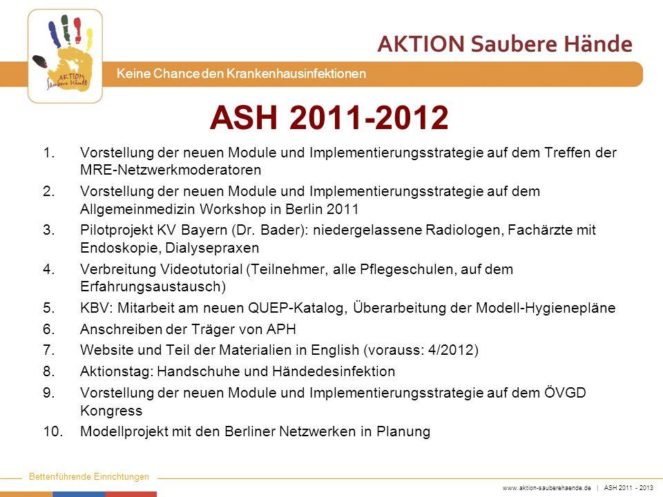 www.aktion-sauberehaende.de | ASH 2011 - 2013 Bettenführende Einrichtungen Keine Chance den Krankenhausinfektionen 1.Vorstellung der neuen Module und