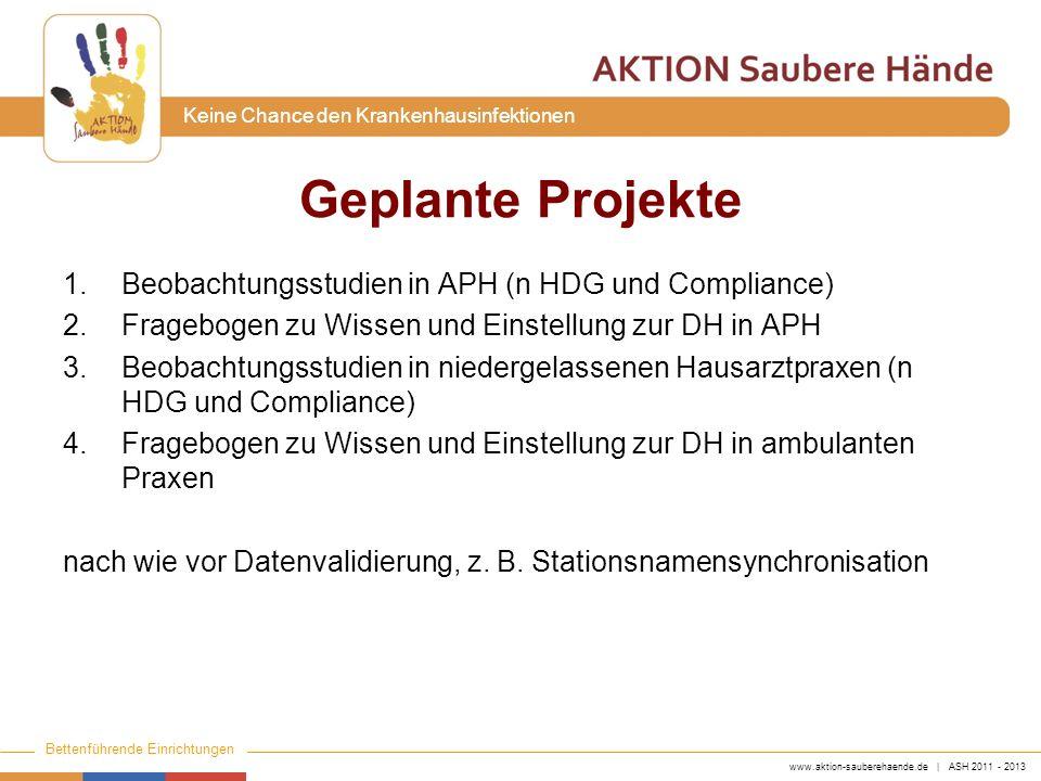 www.aktion-sauberehaende.de | ASH 2011 - 2013 Bettenführende Einrichtungen Keine Chance den Krankenhausinfektionen 1.Beobachtungsstudien in APH (n HDG
