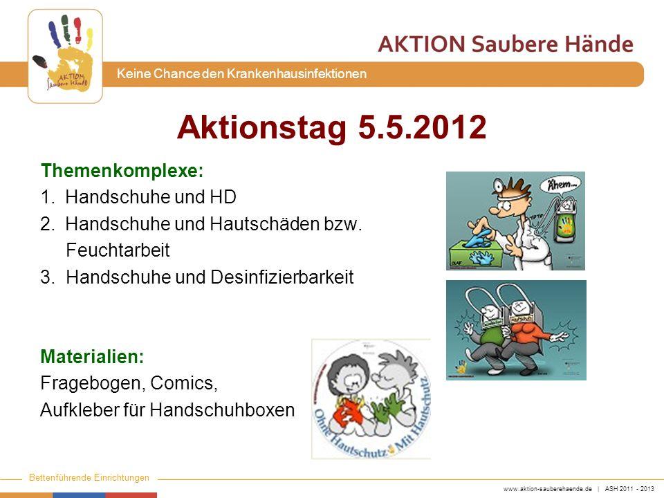 www.aktion-sauberehaende.de | ASH 2011 - 2013 Bettenführende Einrichtungen Keine Chance den Krankenhausinfektionen Themenkomplexe: 1.Handschuhe und HD