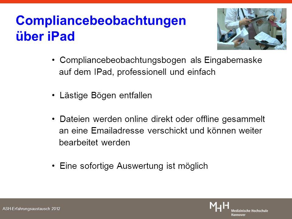 ASH-Erfahrungsaustausch 2012 Compliancebeobachtungen über iPad Compliancebeobachtungsbogen als Eingabemaske auf dem IPad, professionell und einfach Lä