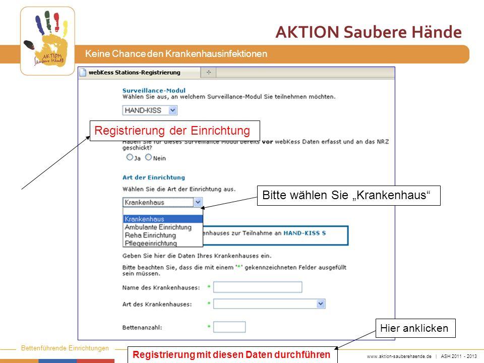 www.aktion-sauberehaende.de | ASH 2011 - 2013 Bettenführende Einrichtungen Keine Chance den Krankenhausinfektionen Registrierung mit diesen Daten durchführen Registrierung der Einrichtung Bitte wählen Sie Krankenhaus Hier anklicken