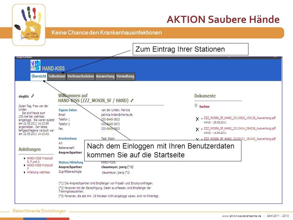 www.aktion-sauberehaende.de | ASH 2011 - 2013 Bettenführende Einrichtungen Keine Chance den Krankenhausinfektionen Nach dem Einloggen mit Ihren Benutzerdaten kommen Sie auf die Startseite Zum Eintrag Ihrer Stationen