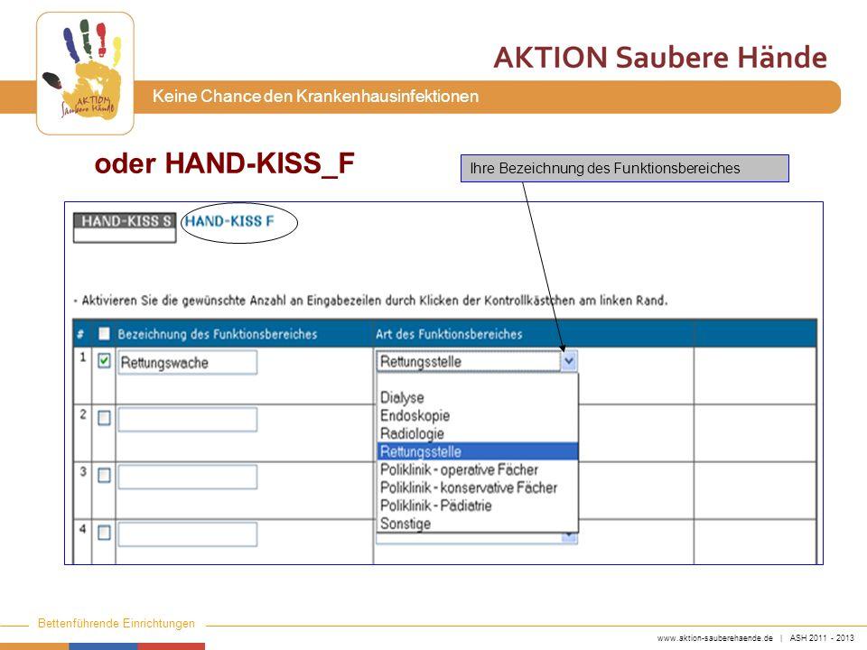 www.aktion-sauberehaende.de | ASH 2011 - 2013 Bettenführende Einrichtungen Keine Chance den Krankenhausinfektionen Ihre Bezeichnung des Funktionsbereiches oder HAND-KISS_F