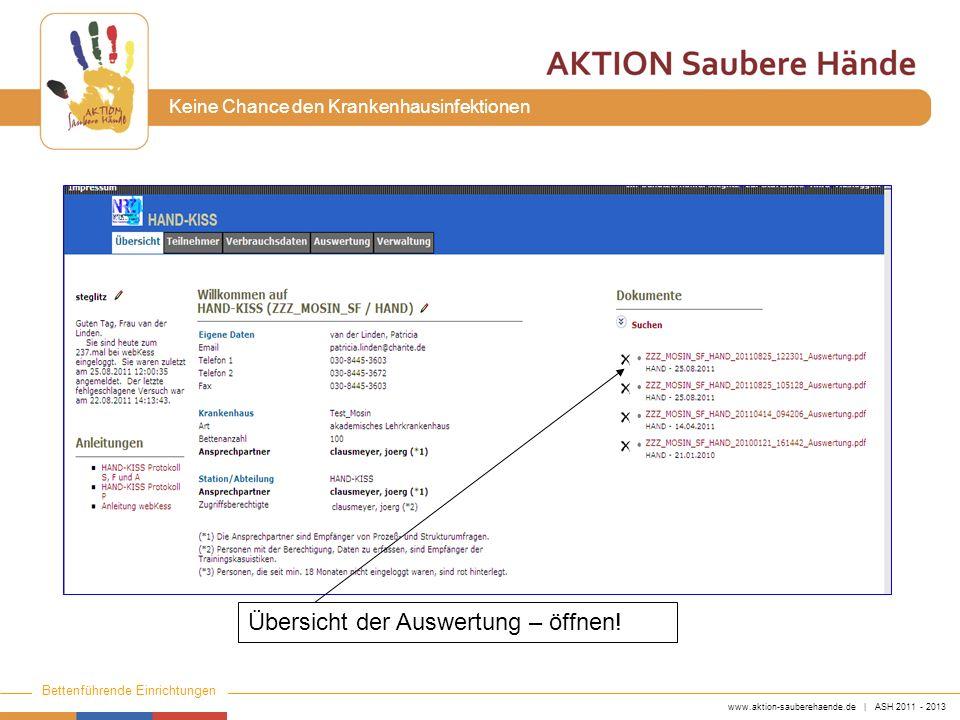 www.aktion-sauberehaende.de | ASH 2011 - 2013 Bettenführende Einrichtungen Keine Chance den Krankenhausinfektionen Übersicht der Auswertung – öffnen!