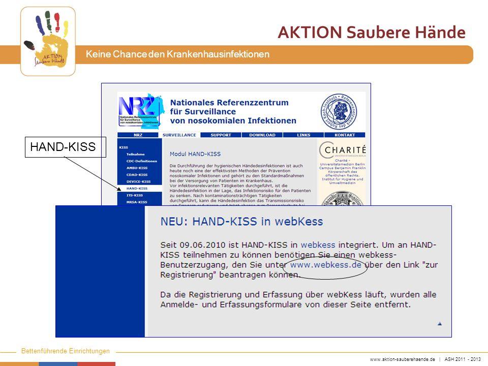 www.aktion-sauberehaende.de | ASH 2011 - 2013 Bettenführende Einrichtungen Keine Chance den Krankenhausinfektionen HAND-KISS