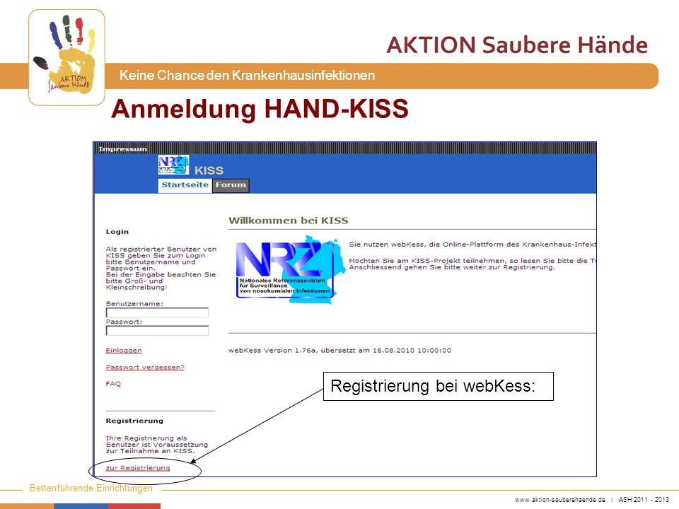 www.aktion-sauberehaende.de | ASH 2011 - 2013 Bettenführende Einrichtungen Keine Chance den Krankenhausinfektionen Anmeldung HAND-KISS Registrierung bei webKess: