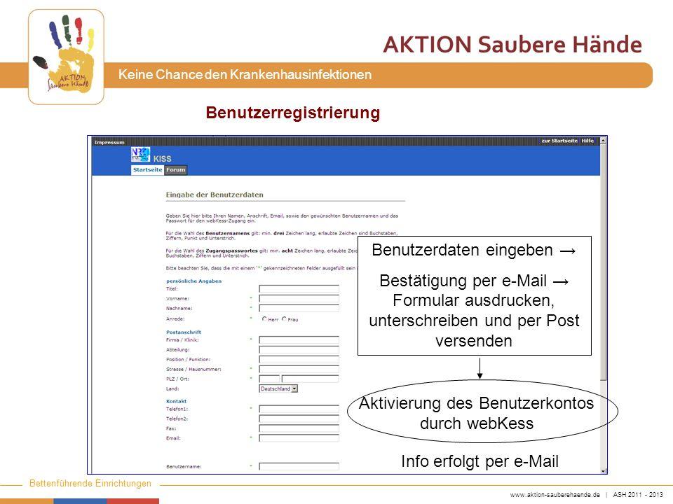 www.aktion-sauberehaende.de | ASH 2011 - 2013 Bettenführende Einrichtungen Keine Chance den Krankenhausinfektionen Aktivierung des Benutzerkontos durch webKess Benutzerdaten eingeben Bestätigung per e-Mail Formular ausdrucken, unterschreiben und per Post versenden Benutzerregistrierung Info erfolgt per e-Mail