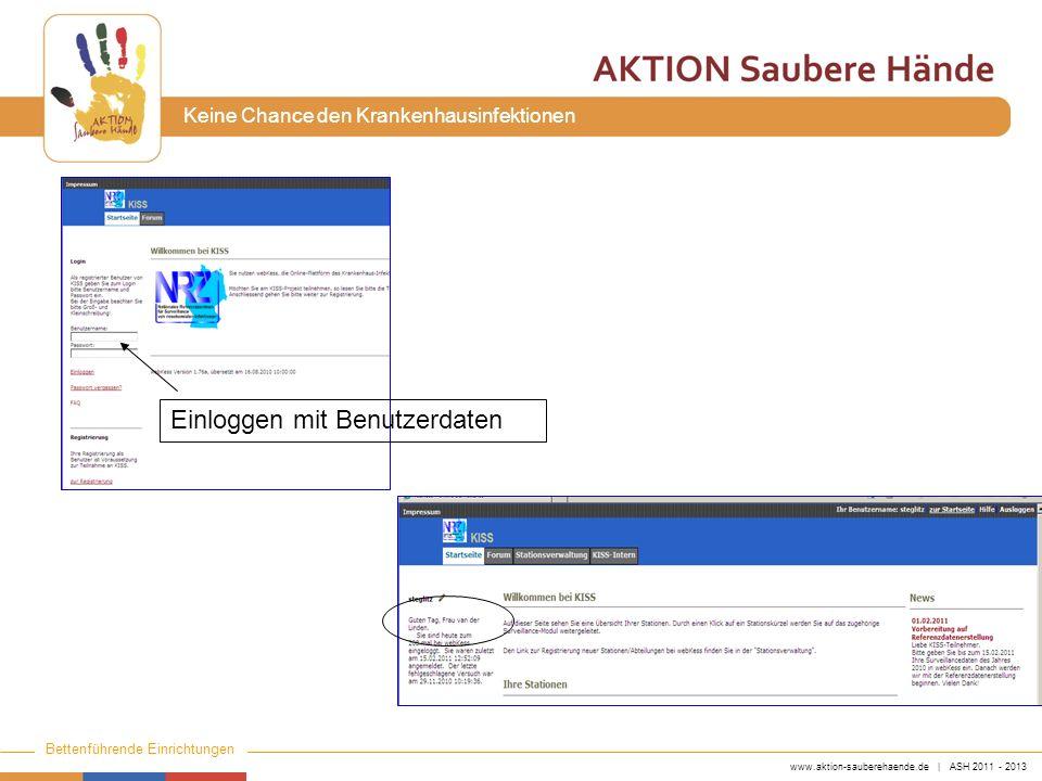 www.aktion-sauberehaende.de | ASH 2011 - 2013 Bettenführende Einrichtungen Keine Chance den Krankenhausinfektionen Einloggen mit Benutzerdaten