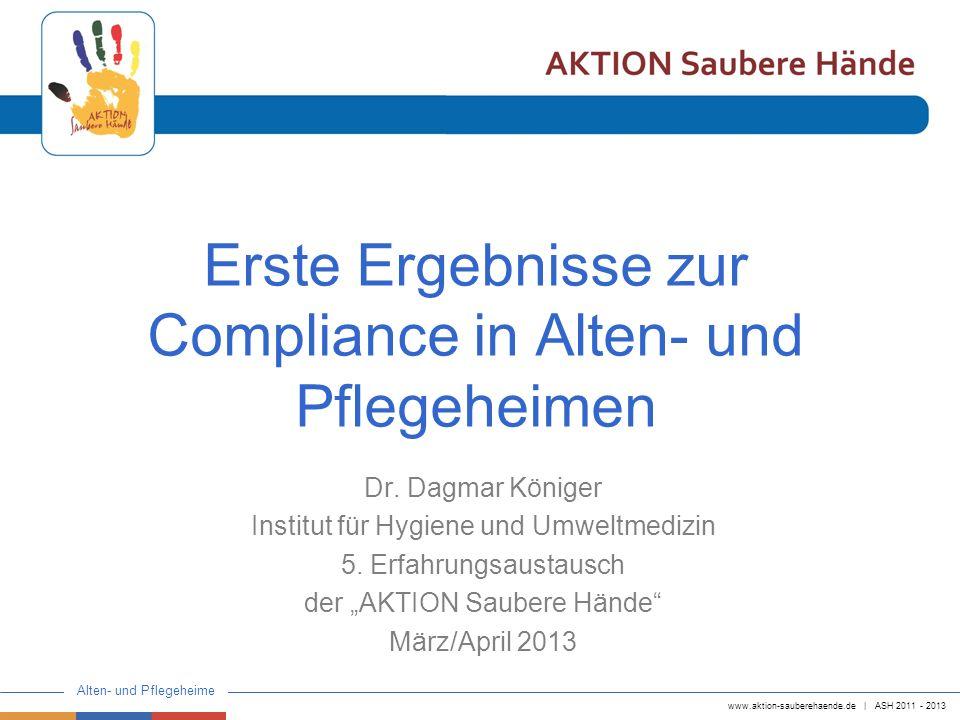 www.aktion-sauberehaende.de   ASH 2011 - 2013 Alten- und Pflegeheime Erste Ergebnisse zur Compliance in Alten- und Pflegeheimen Dr. Dagmar Königer Ins
