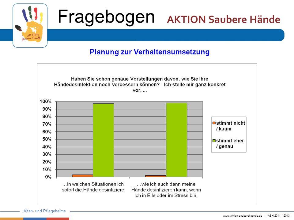 www.aktion-sauberehaende.de   ASH 2011 - 2013 Alten- und Pflegeheime Fragebogen Planung zur Verhaltensumsetzung