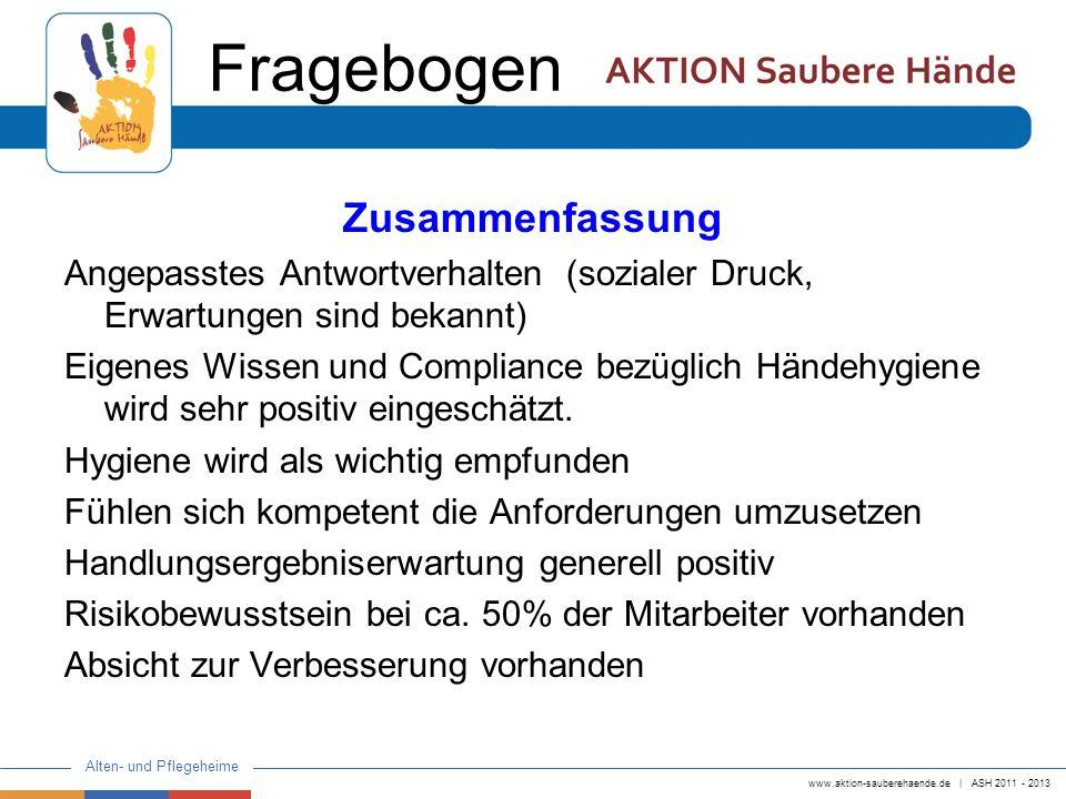 www.aktion-sauberehaende.de   ASH 2011 - 2013 Alten- und Pflegeheime Zusammenfassung Angepasstes Antwortverhalten (sozialer Druck, Erwartungen sind be