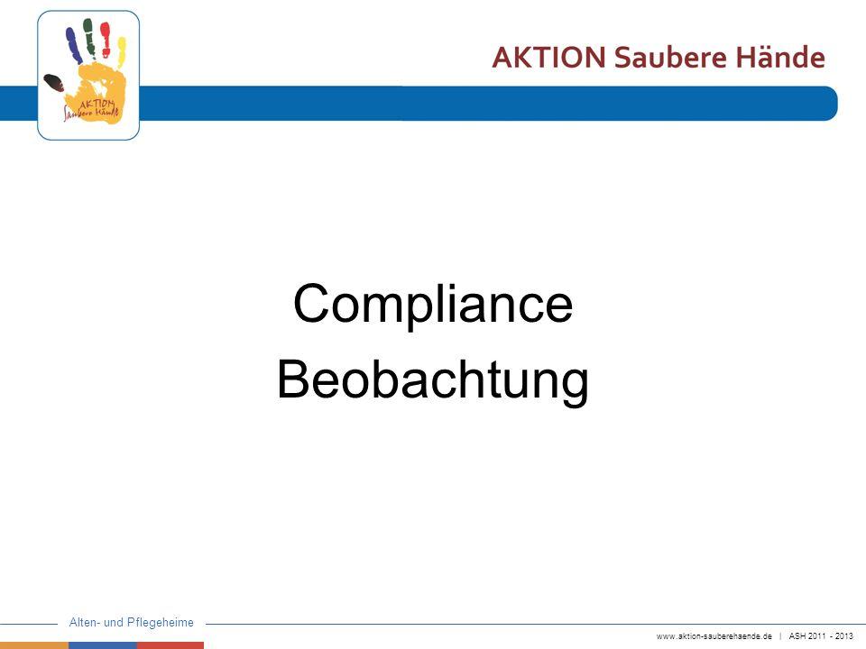 www.aktion-sauberehaende.de   ASH 2011 - 2013 Alten- und Pflegeheime Compliance Beobachtung