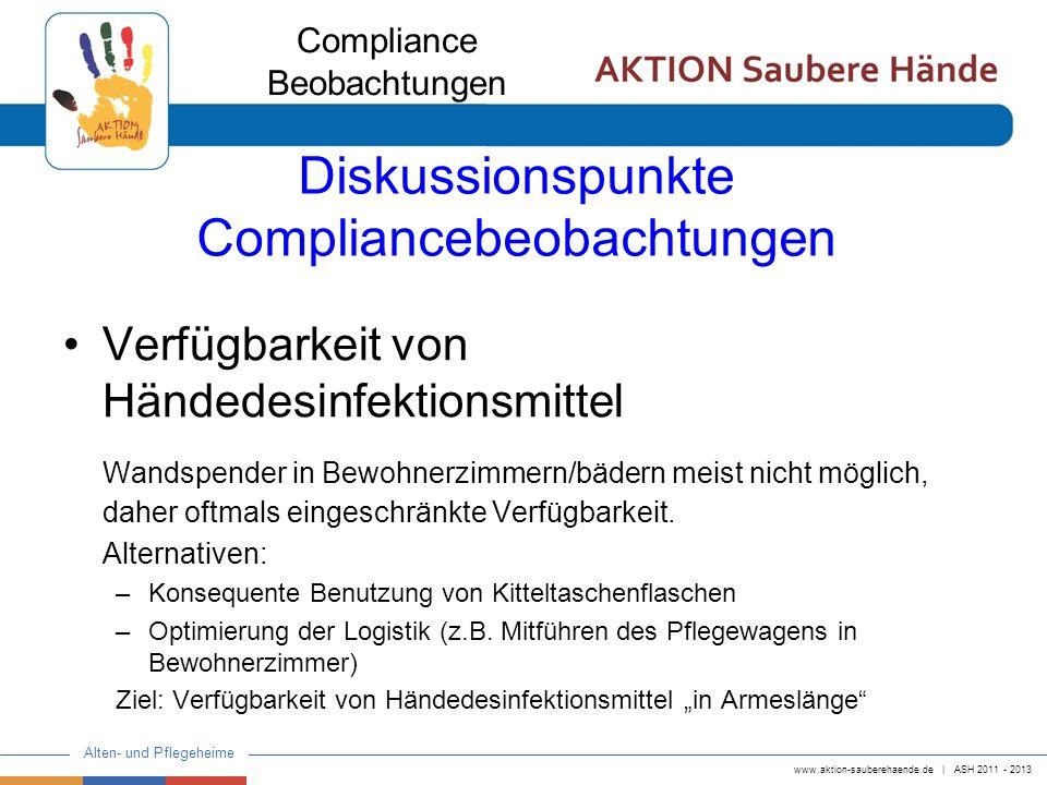 www.aktion-sauberehaende.de   ASH 2011 - 2013 Alten- und Pflegeheime Diskussionspunkte Compliancebeobachtungen Verfügbarkeit von Händedesinfektionsmit