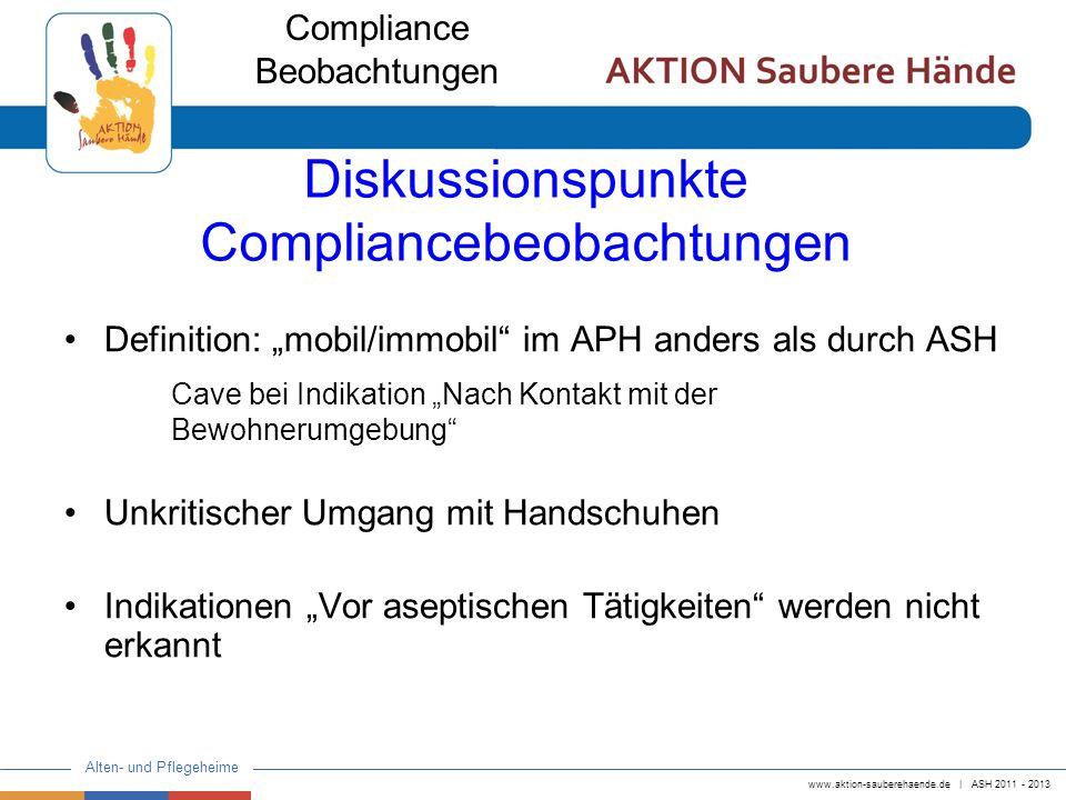 www.aktion-sauberehaende.de   ASH 2011 - 2013 Alten- und Pflegeheime Diskussionspunkte Compliancebeobachtungen Definition: mobil/immobil im APH anders