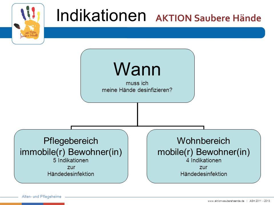 www.aktion-sauberehaende.de   ASH 2011 - 2013 Alten- und Pflegeheime Wann muss ich meine Hände desinfizieren? Pflegebereich immobile(r) Bewohner(in) 5