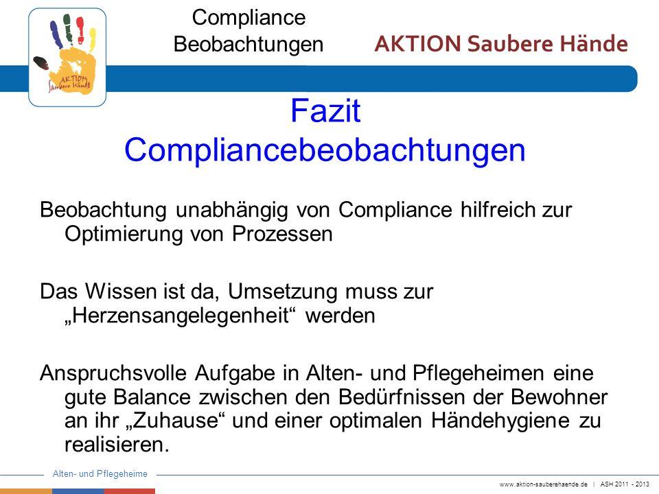www.aktion-sauberehaende.de   ASH 2011 - 2013 Alten- und Pflegeheime Fazit Compliancebeobachtungen Beobachtung unabhängig von Compliance hilfreich zur