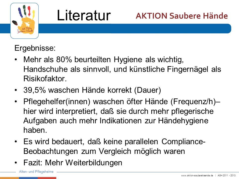 www.aktion-sauberehaende.de   ASH 2011 - 2013 Alten- und Pflegeheime Ergebnisse: Mehr als 80% beurteilten Hygiene als wichtig, Handschuhe als sinnvoll