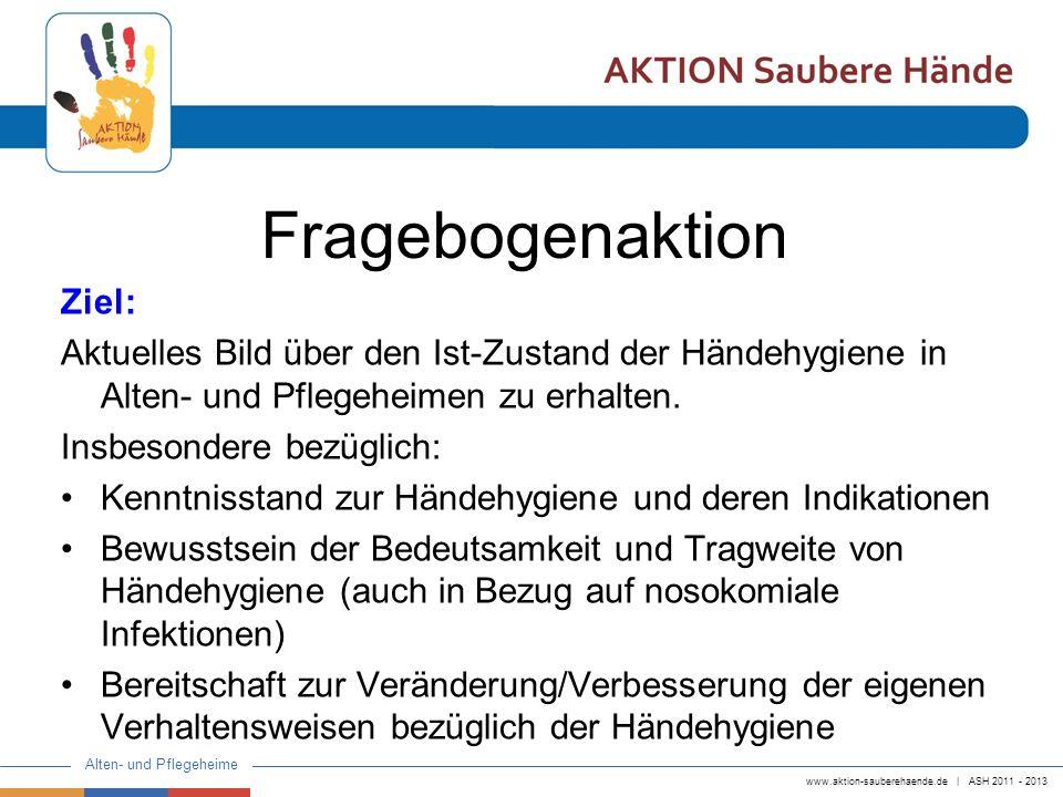 www.aktion-sauberehaende.de   ASH 2011 - 2013 Alten- und Pflegeheime Zielgruppe: Pflegekräfte mit 3-jähriger Ausbildung Pflegekräfte mit 1-jähriger Ausbildung angelernte Pflegekräfte Insgesamt haben 3 Alten- und Pflegeheime teilgenommen.