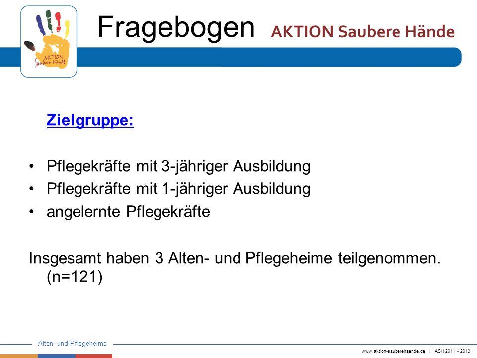 www.aktion-sauberehaende.de   ASH 2011 - 2013 Alten- und Pflegeheime Zielgruppe: Pflegekräfte mit 3-jähriger Ausbildung Pflegekräfte mit 1-jähriger Au