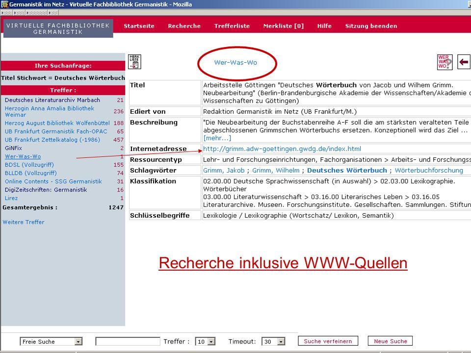 12.06.2008VDB-Fortbildung Rostock10 Recherche inklusive WWW-Quellen
