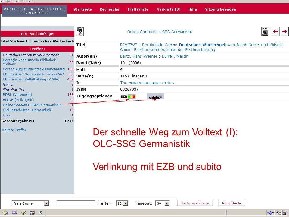 12.06.2008VDB-Fortbildung Rostock11 Der schnelle Weg zum Volltext (I): OLC-SSG Germanistik Verlinkung mit EZB und subito