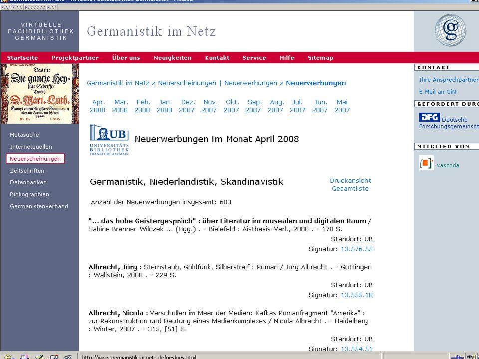 12.06.2008VDB-Fortbildung Rostock17 DNB: Gemeldete Neuerscheinungen für Deutsche Sprache, 22.