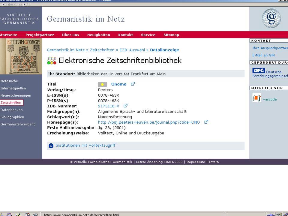 12.06.2008VDB-Fortbildung Rostock21 Zeitschriftendatenbank (ZDB): Nachweis Print- u.