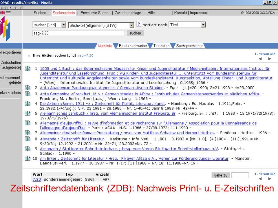 12.06.2008VDB-Fortbildung Rostock22 Zeitschrifteninhalts- verzeichnisse OLC SSG-Germanistik