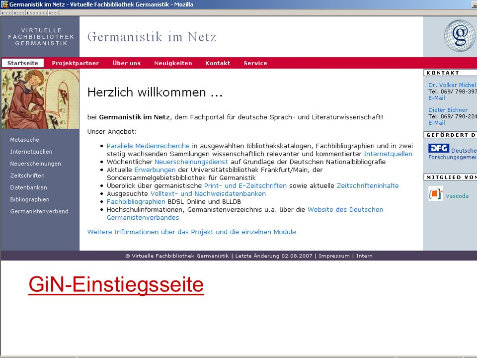 12.06.2008VDB-Fortbildung Rostock6 GiN-Einstiegsseite
