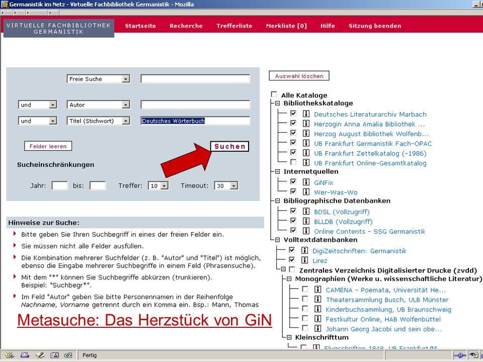12.06.2008VDB-Fortbildung Rostock8 Gesamttreffer in den ausgewählten Katalogen Trefferliste in der Kurzansicht (getrennt nach Katalogen)