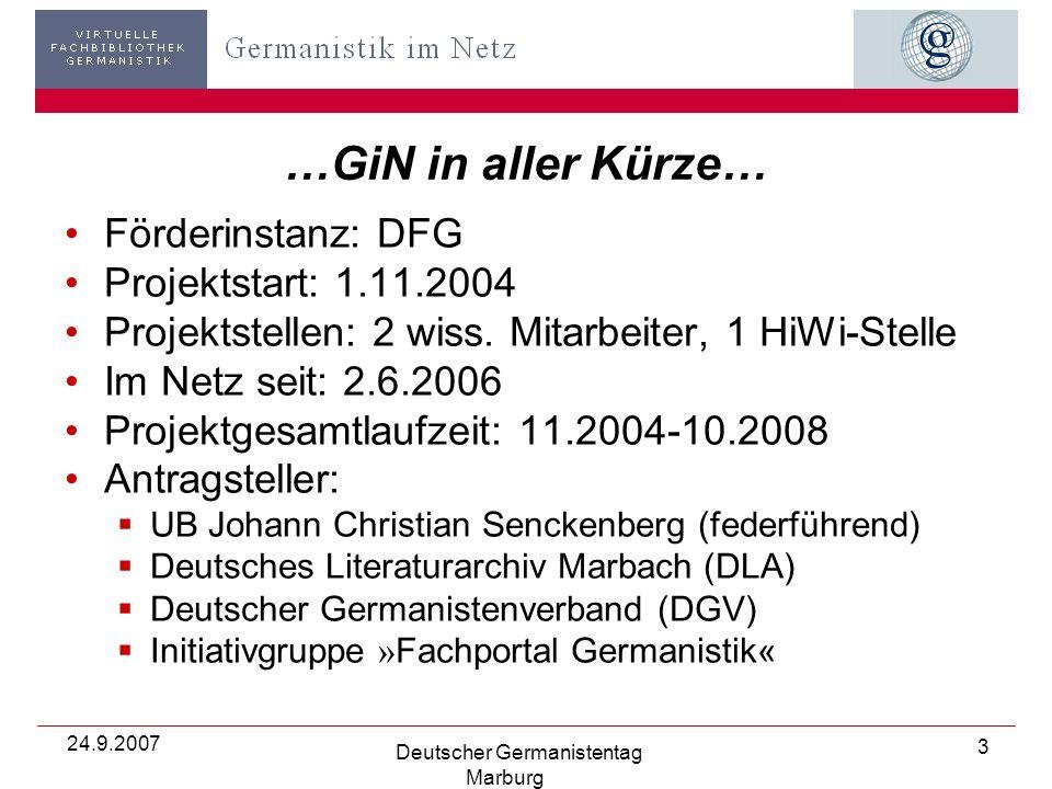 24.9.2007 Deutscher Germanistentag Marburg 24 …sowie Besitznachweis (Detailanzeige mit Institutsangabe/Signatur)