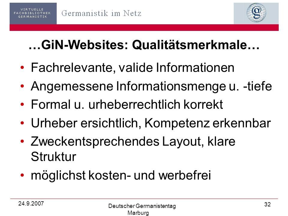 24.9.2007 Deutscher Germanistentag Marburg 32 …GiN-Websites: Qualitätsmerkmale… Fachrelevante, valide Informationen Angemessene Informationsmenge u.
