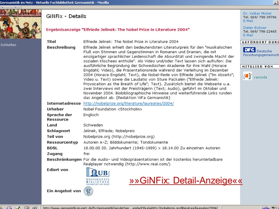 24.9.2007 Deutscher Germanistentag Marburg 34 »»GiNFix: Detail-Anzeige««