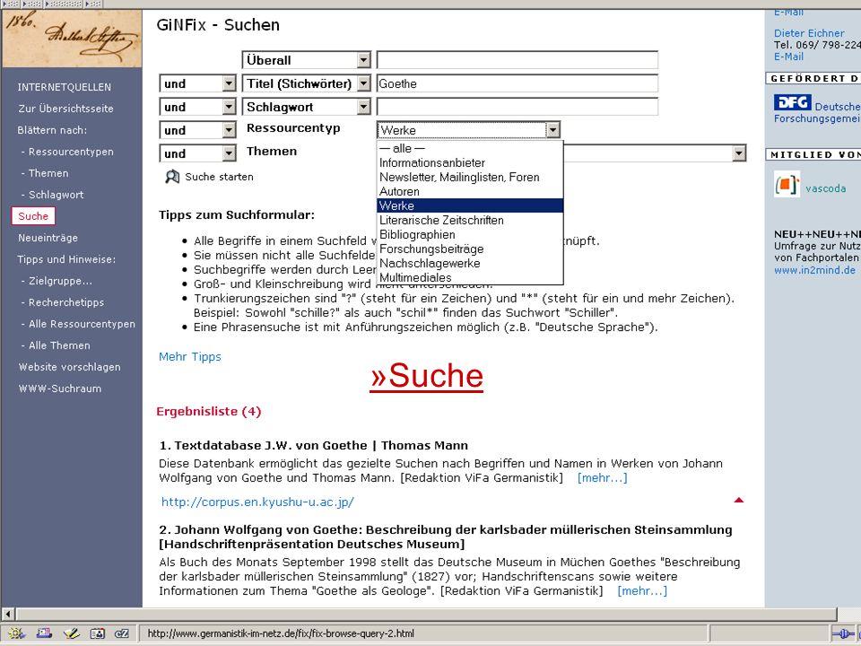 24.9.2007 Deutscher Germanistentag Marburg 38 »Suche