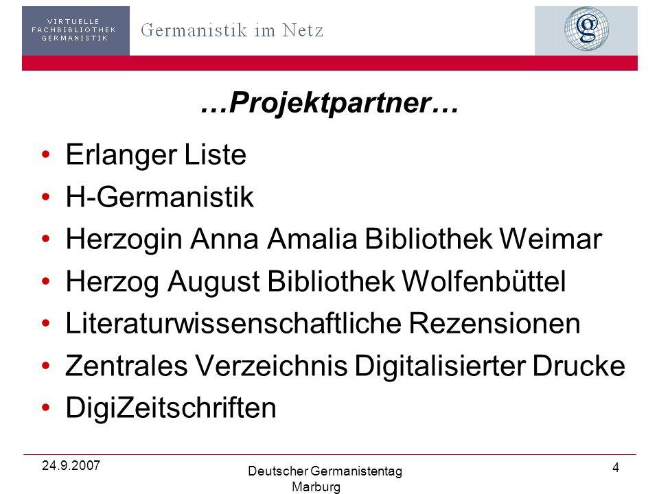 24.9.2007 Deutscher Germanistentag Marburg 35 »Browsen auf Grundlage der BDSL-Klassifikation