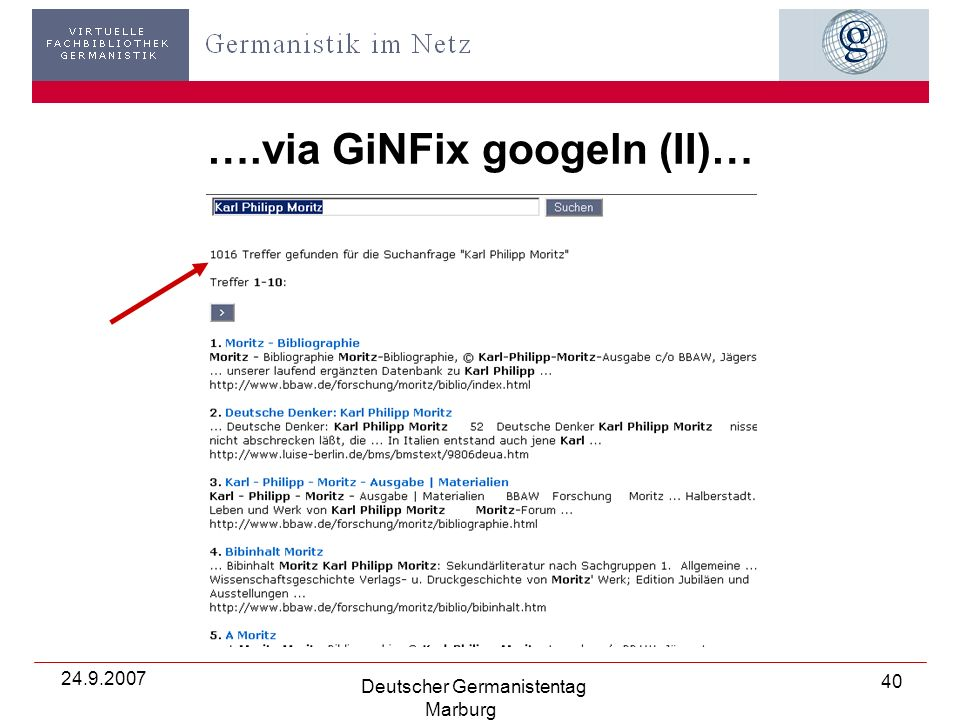 24.9.2007 Deutscher Germanistentag Marburg 40 ….via GiNFix googeln (II)…