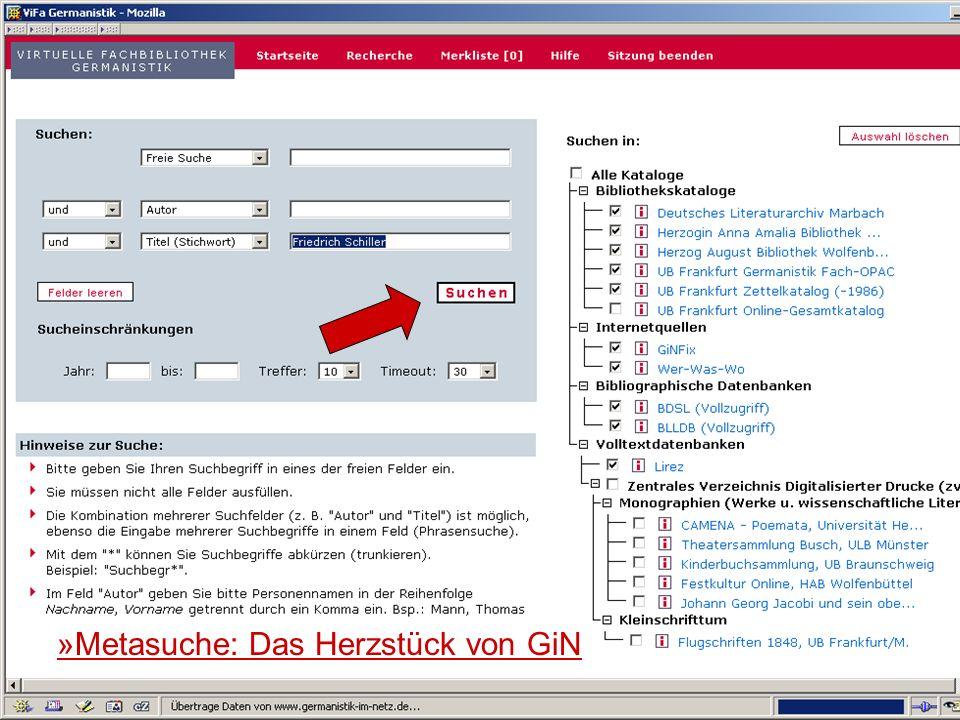 24.9.2007 Deutscher Germanistentag Marburg 7 Das Herzstück von GiN: die Metasuche »Metasuche: Das Herzstück von GiN